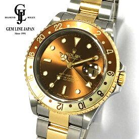 【中古】美品 ロレックス GMTマスターII 16713 P番 YG/SS メンズ 茶/金 腕時計