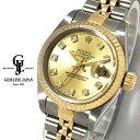 【中古】OH済 ロレックス デイトジャスト 69173G A番 YG/SS シャンパン 純正10Pダイヤ レディース 自動巻 腕時計