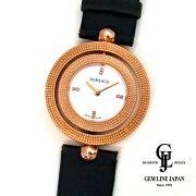 【中古】VERSACEヴェルサーチリバーシブルベゼルシェル文字盤ピンクゴールドカラークォーツ式レディース腕時計ステンレス製