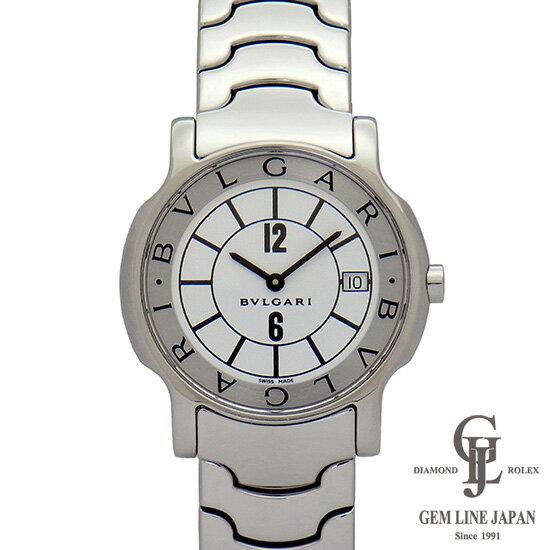 【中古】ブルガリ 時計 メンズ ソロテンポ ST35S ホワイト文字盤 ステンレス 35mm クォーツ 男性用腕時計