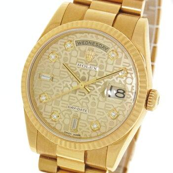 【ROLEX】ロレックスデイデイト118238AコンピュータダイヤインデックスK18YG金無垢Y番自動巻きメンズ腕時計【中古】