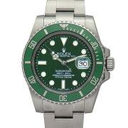 【中古】ロレックスグリーンサブマリーナデイト116610LVG番ルーレット刻印緑文字盤ステンレススチール製300M防水ダイバーズ自動巻メンズ腕時計