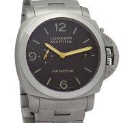 【中古】オフィチーネパネライルミノールマリーナ19503デイズPAM00352ブラウン文字盤44mmチタン製シースルーバック300M防水自動巻きメンズ腕時計