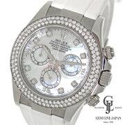 【中古】仕上げ済みロレックスデイトナ116589RBRG番ダイヤ2重巻きベゼルホワイトシェル自動巻メンズ腕時計