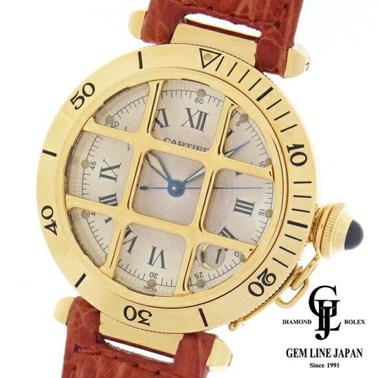 【中古】カルティエ 時計 メンズ パシャ 38mm グリッド 金無垢×社外レザー K18 YG アイボリー文字板 自動巻き 男性用腕時計