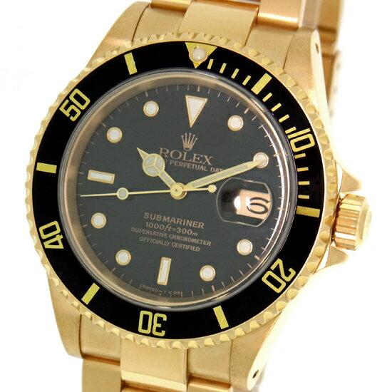 【中古】ロレックス サブマリーナ デイト 16618 N番 ブラック K18YG 金無垢 イエローゴールド製 ダイバーズ 300M防水 自動巻き メンズ腕時計