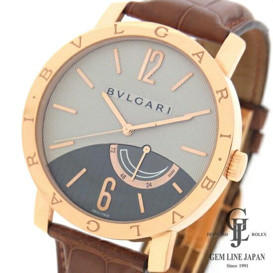 【美品】ブルガリ 銀座限定 時計 メンズ ブルガリブルガリ 41mm パワーリザーブ BBP41GL GINZA ピンクゴールド×レザー グレー文字盤 手巻き 腕時計【中古】