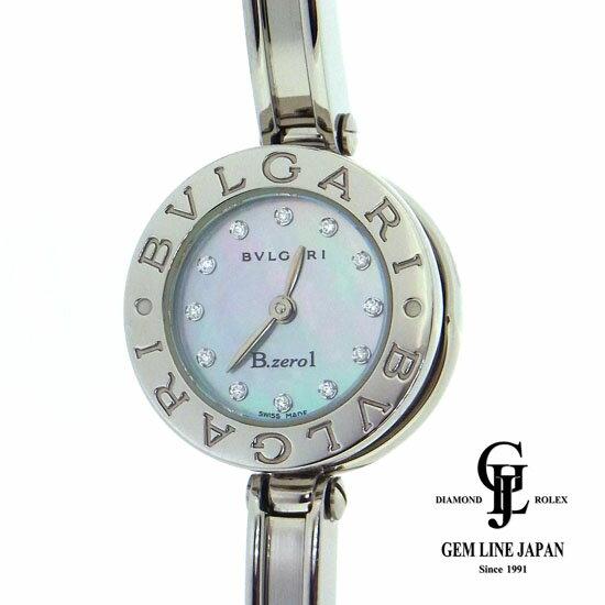 【中古】ブルガリ 時計 レディース B-zero1 ビーゼロワン 12Pダイヤ ブルーシェル文字盤 BZ22S ステンレススティール クォーツ 腕時計