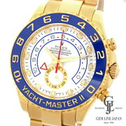 【中古】ロレックスヨットマスターII116688白文字盤K18YG金無垢M番ルーレット刻印有自動巻きメンズ腕時計