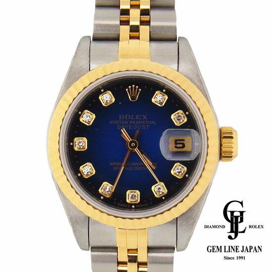 【中古】ロレックス レディース デイトジャスト ブルーグラデーション文字盤 10Pダイヤモンドインデックス 69173G コンビ /YG 自動巻き 腕時計