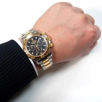 【中古】Sランクギャラ付ロレックスデイトナ116503黒文字盤コンビランダムメンズ自動巻き腕時計