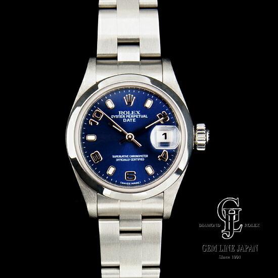 【Aランク】ロレックス レディース オイスター パーペチュアル デイト 79160 ブルー文字板 アラビア数字 SS 自動巻き 女性用腕時計【中古】
