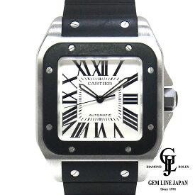【中古】カルティエ W20121U サントス 100 LM ラバー メンズ 腕時計