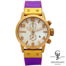 ブレラ オロロジ 時計 レディース イザベラ シェル文字盤 ゴールドカラー×パープルラバー 42mm 日付機能 クロノグラフ クォーツ 女性用腕時計【中古】