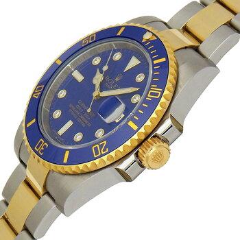 【中古】ROLEXロレックスサブマリーナデイト8Pダイヤモンドブルーダイアルコンビ116613GLBランダム300M防水ダイバーズステンレススチール・イエローゴールド製自動巻メンズ腕時計