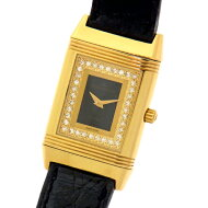 仕上げ済【JAEGER-LECOULTRE】ジャガールクルトレベルソ260.1.08ダイヤ入りブラック文字盤YGリバーシブルクォーツレディース腕時計【中古】