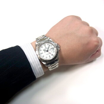 ロレックスエクスプローラーII16570白文字盤P番自動巻きメンズ腕時計【中古】