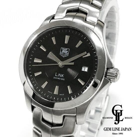 【中古】タグホイヤー リンク WJF1313 黒文字盤 クォーツ レディース 腕時計