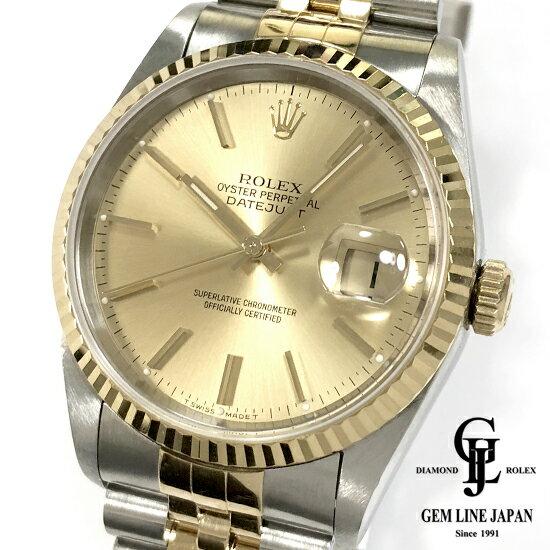 【中古】Aランク ロレックス デイトジャスト 16233 S番 コンビ シャンパンバー メンズ 腕時計