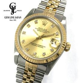 【中古】ギャラ付 ロレックス デイトジャスト 68273G 純正10Pダイヤモンド YG/SS ボーイズ 腕時計