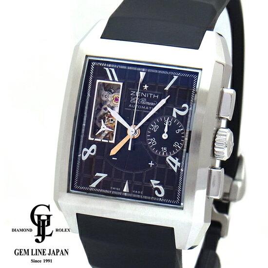 【中古】ギャラ付き ゼニス ポートロワイヤル 03.0540.4021/75.C507 ブラック メンズ 腕時計