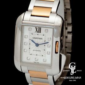 【中古】カルティエ タンクアングレーズ LM WT100025 PG/SS 11Pダイヤモンド メンズ 腕時計