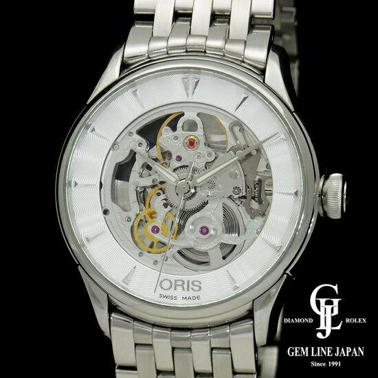 【中古】【美品 ギャラ付き】オリス アートリエスケルトン 0173475914051-0782173 SS メンズ 腕時計