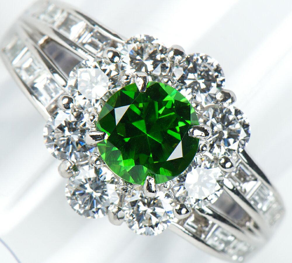 デマントイドガーネット1.34ct ダイヤモンド 計1.88ct プラチナ900 17号 リング・指輪【中古】(2200000226327)