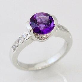 ポイント10倍 送料無料 アメジスト 高級 ダイヤモンド プラチナ リング 1点品 Hand Made in Japan! Ring プレゼント