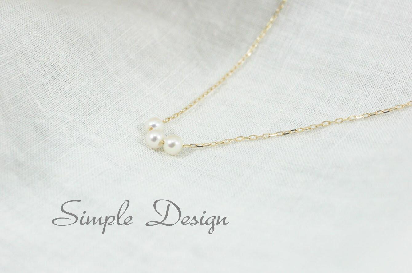 3粒ベビーパールK18ネックレス・和玉・本真珠・可愛いシンプルネックレス・日本製 プレゼント ラッピング無料 3連