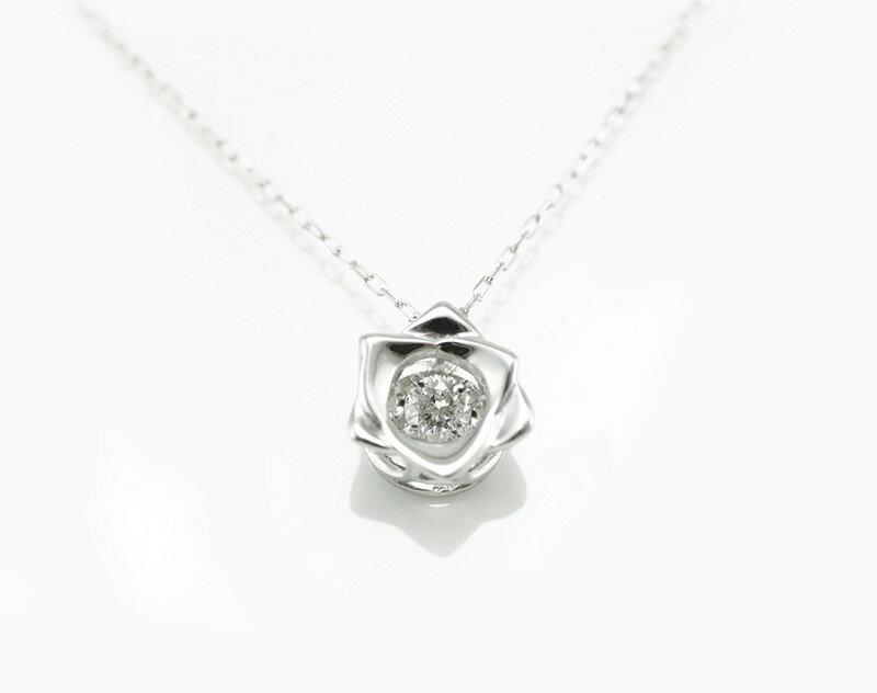 揺れる ダンシングストーン ダイヤモンド プチローズ ネックレス 輝き続ける 天然宝石 プレゼント 18金ホワイトゴールド 送料無料 ラッピング可 ホワイトデーにも