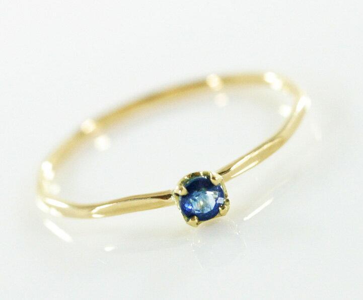 K18 Blue Sapphire Fine Ring リング 華奢 レディース 指輪 重ね着け ピンキー細身 結婚式 プレゼン ト & ギフト 日本製 送料無料