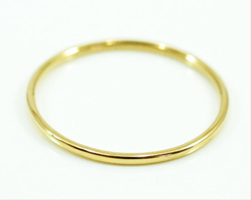 K18 Fine Ring smooth 極細リング 18金製 イエローゴールド リング 華奢 レディース 指輪 重ね着け ピンキーリング 細身 結婚式 プレゼント ギフト 日本製 送料無料