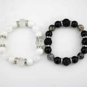 四神彫刻入りブレスレット ホワイトオニキス ブラックオニキス 【パワーストーン・Bracelet・天然石】