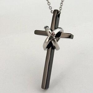 ステンレス ネックレス クロス 十字架 リング ブラック カラー【ネックレス レディース メンズ SALE セール アクセサリー アクセ】