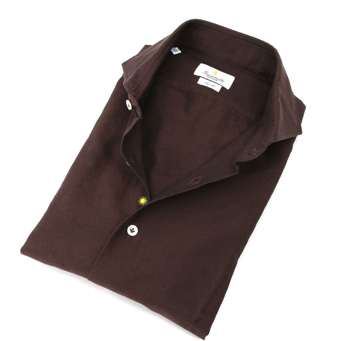 【SALE】【返品交換不可】giannetto オックスフォード カッタウェイ コットンシャツ SLIM FIT 004/BROWN (5G14500L84)【メンズ】