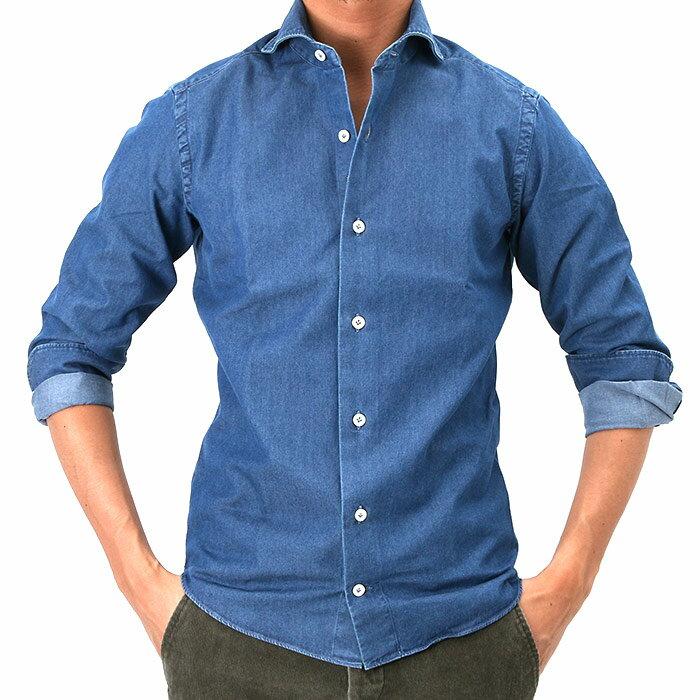 giannetto(ジャンネット)シャンブレー カッタウェイコットンシャツ VINCI FIT C02/INDIGO(6G35030V84)【メンズ】