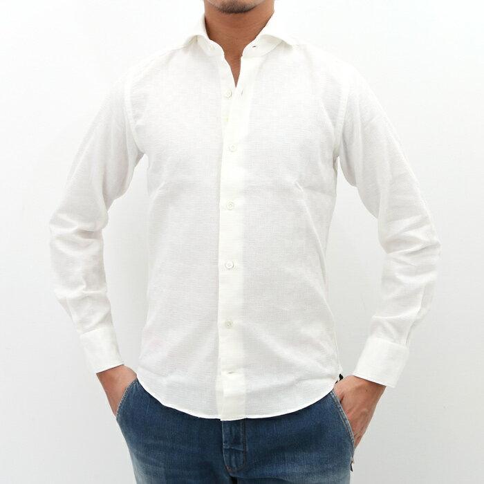 【SALE】【返品交換不可】giannetto(ジャンネット)織柄チェック カッタウェイ コットンシャツ VINCI FIT 002/OFF WHITE(6G15130V84)【メンズ】