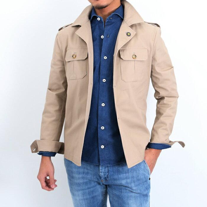 giannetto(ジャンネット)ミリタリー ストレッチコットンシャツジャケット SAHARA 001/BEIGE(6G324SAHAR)【メンズ】