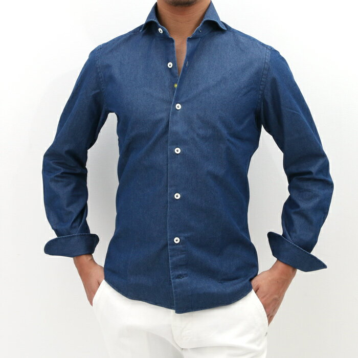 giannetto(ジャンネット)シャンブレー カッタウェイコットンシャツ VINCI FIT 001/INDIGO(6G35030V84)【メンズ】