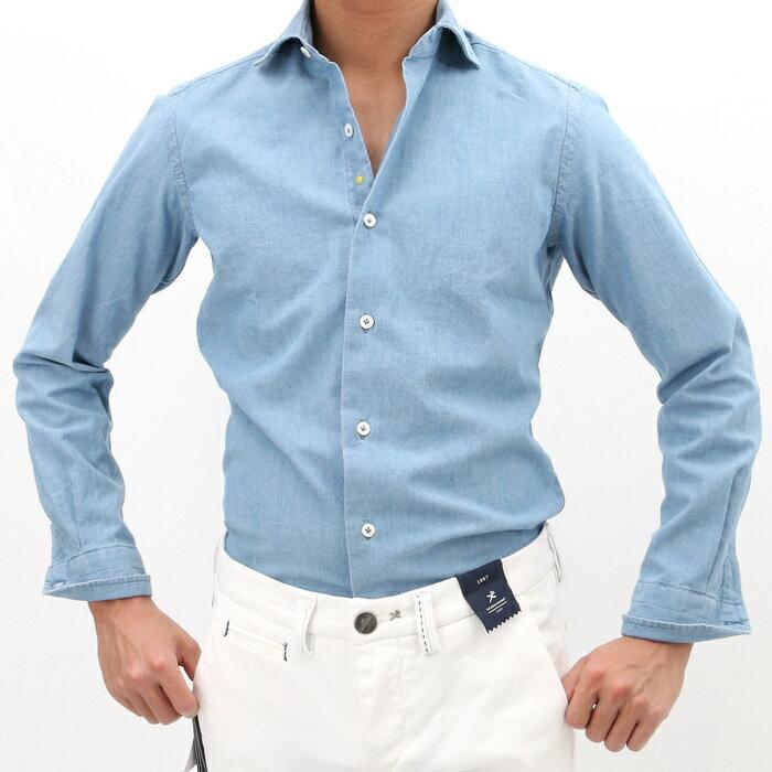 【SALE】【返品交換不可】giannetto(ジャンネット)シャンブレー カッタウェイ コットンシャツ SLIM FIT 001/WASH INDIGO(6G35430L81)【メンズ】