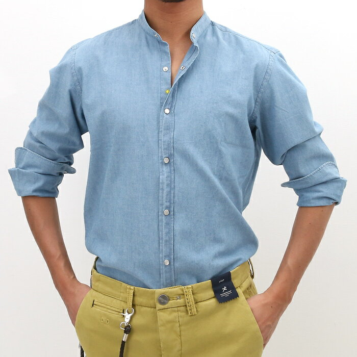 【SALE】【返品交換不可】giannetto(ジャンネット)シャンブレー バンドカラー コットンシャツ SLIM FIT 001/WASH INDIGO(6G35437LLU)【メンズ】