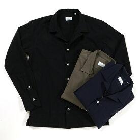 giannetto ジャンネット シアサッカーコットン オープンカラー シャツ メンズ 3/KHAKI 4/NAVY 5/BLACK AG280BOWML