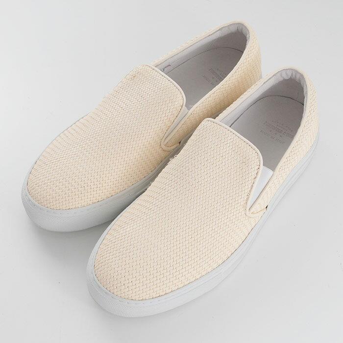 Pantofola d'Oro(パントフォラドーロ)レザーメッシュスリッポンシューズ TENDENZA WHT/OFF WHITE(SM55-WHT)【メンズ】