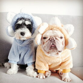 【送料無料】ペット衣装 もこもこ 暖かい 犬服 猫服 防寒 ドッグウエア 犬 猫 かわいい カバーオール ロンパース 小型犬 中型犬 仮装 お花