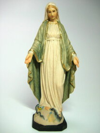 《レーピ》欧州教会使用創業100年 木彫りブランド木彫り 聖母マリア像「 無原罪 」カラー仕上げ(手彩色)高さ 9cm 保証書付【イタリア】