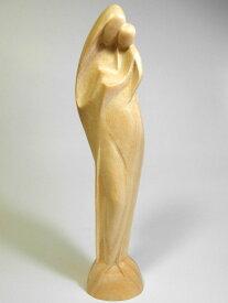 《レーピ》欧州教会使用創業100 年木彫りブランド木彫り聖母マリア像 聖母子像「プロテクトレス」守護ニス仕上げ 高さ 17cm保証書付【イタリア】