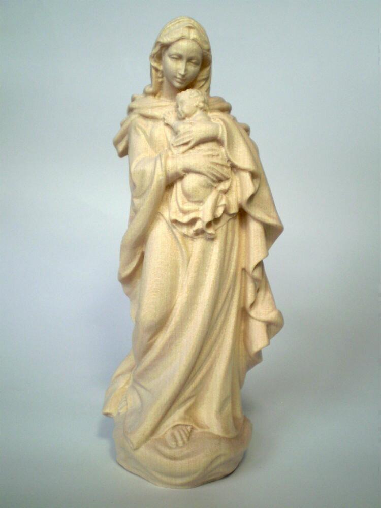 《レーピ》欧州教会使用創業100年 木彫りブランド木彫り 聖母マリア像「 ルネサンス 」聖母子像 白木仕上げ 高さ 15cm 保証書付【イタリア】
