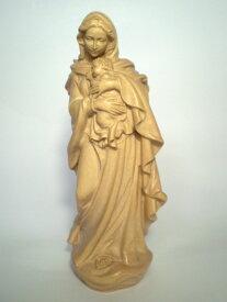 《レーピ》欧州教会使用創業100年 木彫りブランド木彫り 聖母マリア像「ルネサンス」聖母子像 ニス仕上げ 高さ 15cm 保証書付【イタリア】