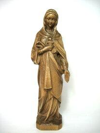 《レーピ》欧州教会使用創業100年 木彫りブランド木彫り 聖母マリア像(聖心)「セイクリッド・ハート」ダークブラウン高さ 20cm 保証書付【イタリア】